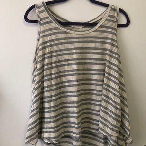 Anthropologie Grey and White Striped Tank Top